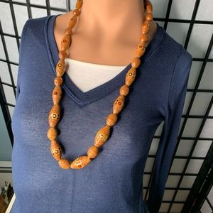 1970s Vintage Wooden Bead Necklace
